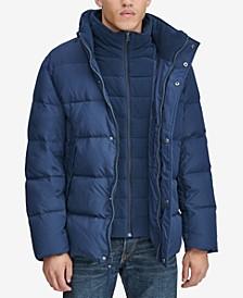 Men's Down Puffer Jacket with Fleece Bib