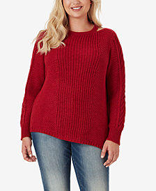Jessica Simpson Trendy Plus Size Oasis Cutout-Neck Sweater
