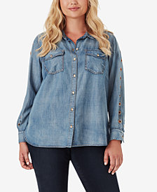 Jessica Simpson Trendy Plus Size Petunia Denim Shirt