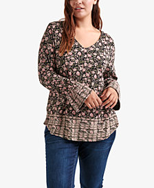Lucky Brand Trendy Plus Size Mixed-Print Cinched-Sleeve Top