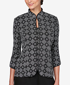 Alex Evenings Petite Printed Glitter Jacket & Top