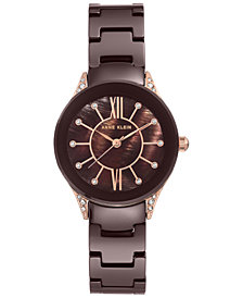 Anne Klein Women's Brown Ceramic Bracelet Watch 30mm