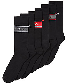 Fila Men's 6-Pk. Striped Cushioned Crew Socks
