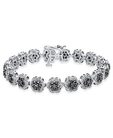 Diamond Floral Cluster Link Bracelet (5 ct. t.w.) in Sterling Silver