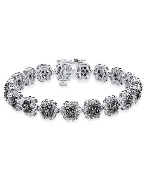 Macy's Diamond Floral Cluster Link Bracelet (5 ct. t.w.) in Sterling Silver