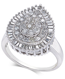 Diamond Pear Cluster Statement Ring (1 ct. t.w.) in 14k White Gold