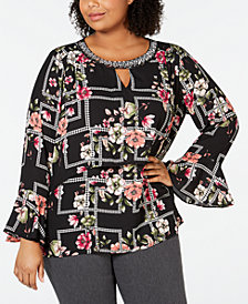 NY Collection Plus Size Floral-Print Embellished Top