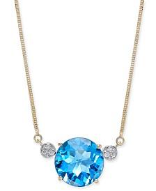 "London Blue Topaz (7-1/2 ct. t.w.) & Diamond Accent 16"" Pendant Necklace in 14k Gold"