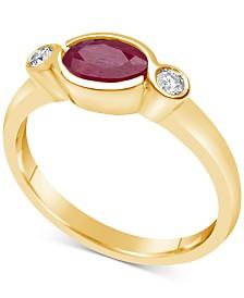 Certified Ruby (3/4 ct. t.w.) & Diamond (1/10 ct. t.w.) Bezel Ring in 14k Gold