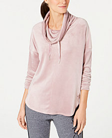 Calvin Klein Performance Cowl-Neck Curved-Hem Top