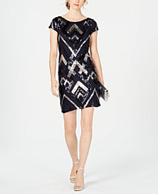 Vince Camuto Sequin Cap-Sleeve Sheath Dress