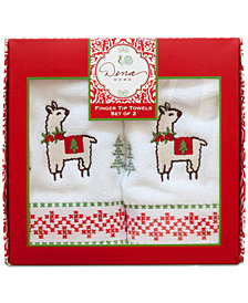 Dena Festive Llama Cotton 2-Pc. Embroidered Fingertip Towel Set