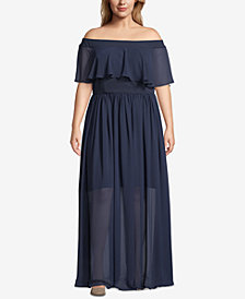 Betsy & Adam Plus Size Off-the-Shoulder Chiffon Dress