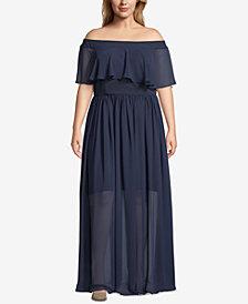 Betsy & Adam Plus Size Off-the-Shoulder Chiffon Dress