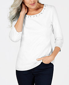 Karen Scott Petite Cotton Grommet-Neck Top, Created for Macy's