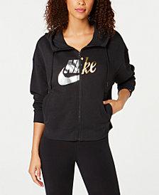 Nike Sportswear Rally Metallic-Logo Zip Hoodie