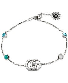 Multi-Gemstone Double G Flower Charm Link Bracelet in Sterling Silver