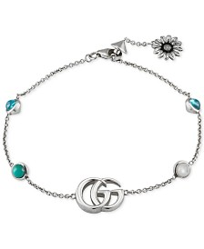 Gucci Multi-Gemstone Double G Flower Charm Link Bracelet in Sterling Silver