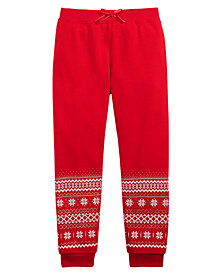 Epic Threads Little Girls Border-Print Jogger Pants, Created for Macy's