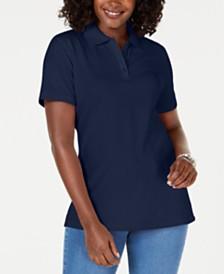 Karen Scott Petite Pique Cotton Polo Top, Created for Macy's