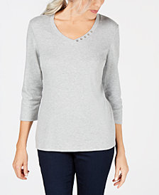 Karen Scott Cotton Button-Trim Top, Created for Macy's