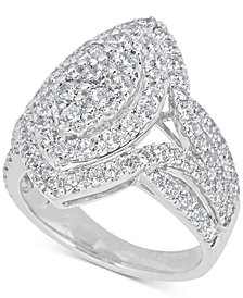 Diamond Cluster Ring (2-1/2 ct. t.w.) in 14k White Gold