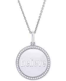 """Diamond Believe Disc 22"""" Pendant Necklace (1/10 ct. t.w.) in Sterling Silver"""