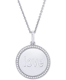 """Diamond Love Disc 22"""" Pendant Necklace (1/10 ct. t.w.) in Sterling Silver"""