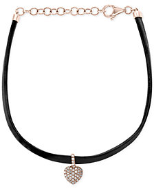 EFFY® Diamond Heart Charm Leather Bracelet (1/8 ct. t.w.) in 14k Rose Gold
