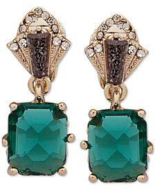 Jenny Packham Gold-Tone Pavé & Stone Clip-On Drop Earrings