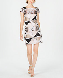 Vince Camuto Printed Cap-Sleeve Shift Dress