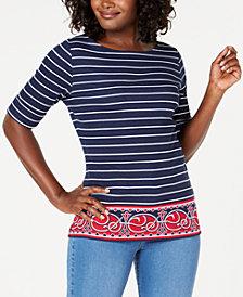 Karen Scott Boat-Neck Paisley Striped Top, Created for Macy's