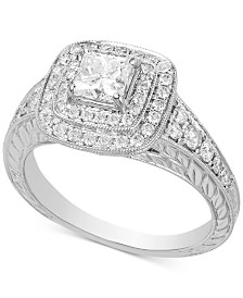 Diamond Cushion Halo Engagement Ring (1-1/4 ct. t.w.) in 14k White Gold
