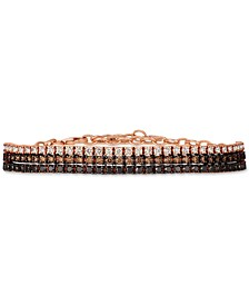 Chocolate Layer Cake™ Blackberry Diamonds®, Chocolate Diamonds® & Nude Diamonds™  Bracelet (3 ct. t.w.) in 14k Rose Gold