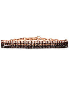 Le Vian® Chocolate Layer Cake™ Blackberry Diamonds®, Chocolate Diamonds® & Nude Diamonds™  Bracelet (3 ct. t.w.) in 14k Rose Gold