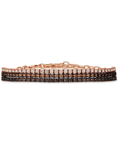 Le Vian Chocolate Layer Cake™ Blackberry Diamonds®, Chocolate Diamonds® & Nude Diamonds™  Bracelet (3 ct. t.w.) in 14k Rose Gold