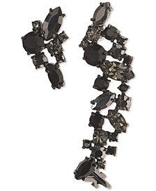 Marchesa Hematite-Tone Stone Cluster Ear Climber & Stud Mismatch Earrings