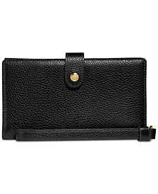 COACH Box Program Polished Pebble Phone Wristlet