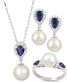 Cultured Freshwater Pearl, Sapphire & Diamond Accent Jewelry Collection in 14k White Gold