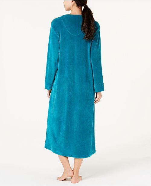 89939ba227 Miss Elaine Velvet Fleece Long Zip Robe - Bras
