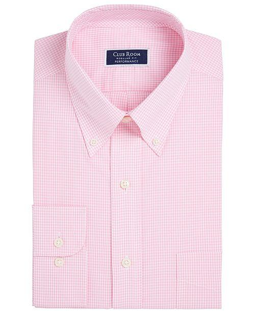 Club Room Men's Big & Tall Classic/Regular Fit Mini Gingham Dress Shirt, Created for Macy's