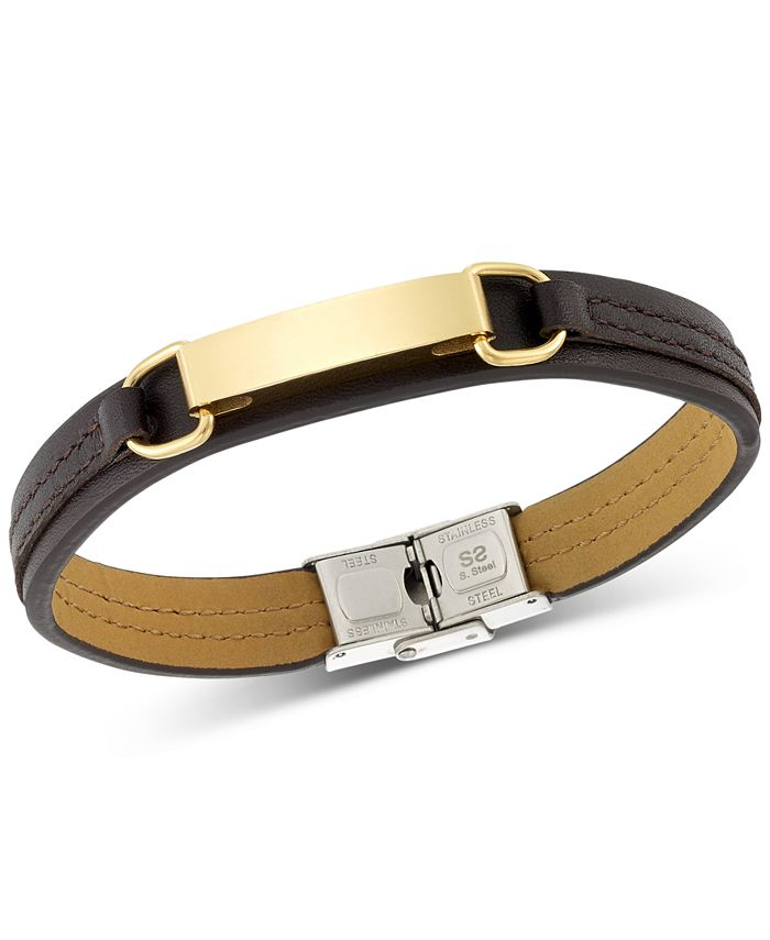 LEGACY for MEN by Simone I. Smith - Simone I. Smith ID Plate Brown Leather Bracelet in Stainless Steel Yellow Ion-Plate