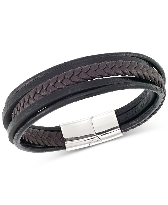 LEGACY for MEN by Simone I. Smith - Men's Black & Brown Multi-Row Leather Bracelet in Stainless Steel