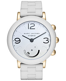 Marc Jacobs Women's Riley White Silicone Bracelet Hybrid Smart Watch 42mm