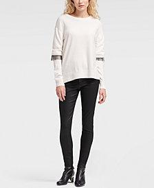 DKNY Crewneck Fringe Sweater