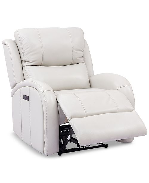 Macy Clearance Furniture: Furniture Leiston Leather Dual Power Recliner With USB