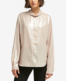 DKNY Metallic Mock-Neck Top, Created for Macy's