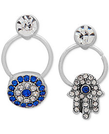 lonna & lilly Silver-Tone Crystal Hamsa Hand Mismatch Drop Earrings