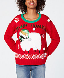Hooked Up by IOT Juniors' Bahhh Humbug Sweater