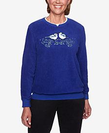 Alfred Dunner Appliqué Anti-Pill Rhinestone-Embellished Sweatshirt